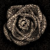 Rose of skulls and bones