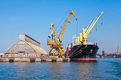 Loading With Cranes Of Industrial Cargo Ship In Burgas Port