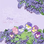 Background with lilac and pansies