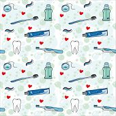 Tooth care with love seamless background