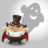 Cute Halloween Count Dracula with ghost.
