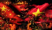 China Vietnam Flag War Torn Fire International Conflict 3D