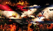 Egypt Israel Flag War Torn Fire International Conflict 3D