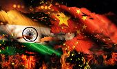India China Flag War Torn Fire International Conflict 3D