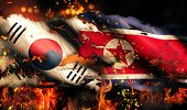 North Korea South Korean Flag War Torn Fire International Conflict 3D