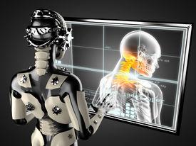 stock photo of cyborg  - cyborg woman manipulating hologram display - JPG