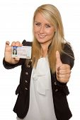 stock photo of 16 year old  - 16 to 18 year old girl just received her driver license - JPG