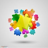 Many puzzle colors. Vector