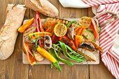 image of vegan  - Colorful grilled summer vegetables for a vegan  - JPG