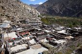 picture of mustang  - Rooftop view over Marpa village Mustang Nepal.