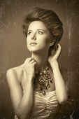 foto of edwardian  - Portrait of edwardian woman with necklace - JPG