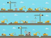 Vector seamless horizontal  background with construction icons