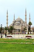 Sultan Ahmed Mosque (blue Mosque) and Tourists In Istanbul, Turkey