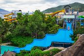 Colorful Waterslide In Vinpearl Water Park
