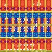 Aztec Tribal Seamless Pattern With Blue Forms Over Orange Brushed  Background