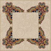 floral frame, ethnic ukrainian ornament on paisley background