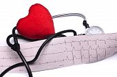 Heart analysis, electrocardiogram graph (ECG), red heart