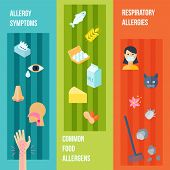 stock photo of dust mites  - Allergy flat vertical banner set with respiratory symptoms food allergens elements isolated vector illustration - JPG