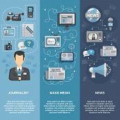 picture of mass media  - Journalist flat banner set vertical with mass media and news elements isolated vector illustration - JPG