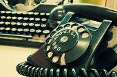 stock photo of old vintage typewriter  - Vintage phone and old typewriter  - JPG