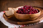 Russian Beetroot Salad In Wooden Bowl