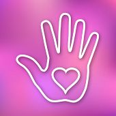 Linear illustration of Hand print with heart icon on bright blurred background