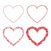 Set of Red Hand Drawn Linear Grunge Hearts