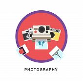 Photography photo equipment mode studio editing flat icons set isolated vector illustration