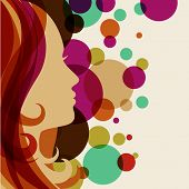 Beautiful Girl Silhouette With Red Hair, Vector Background. Abstract Design Concept For Beauty Salon