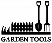 image of land development  - isolated black gardening symbol with tools silhouette - JPG
