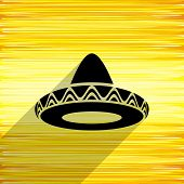 stock photo of mexican fiesta  - Black vector mexican sombrero icon on yellow background - JPG