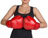 Cropped image of woman in boxing gloves