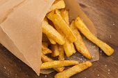 stock photo of junk food  - french Potatoes fries with sea salt - JPG