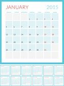 Calendar 2015 Vector Flat Design Template. Set Of 12 Months. Week Starts Monday