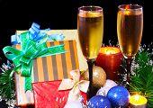 New Year Decoration- Balls, Tinsel, Candels.