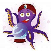 Octopus Fortune Teller with Crystal Ball. Editable Vector Illustration