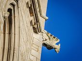 stock photo of gargoyles  - A stone gargoyle on a Welsh church tower on a bright summers day - JPG
