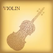 pic of compose  - a colored background with a violin composed by musical notes - JPG