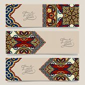 three horizontal banners with decorative ornamental flowers