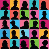 Avatars Of Silhouettes With Different Hairstyles.