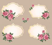 collection of vector frames with roses in retro style