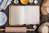 Baking Background With Blank Cook Book, Flour, Rolling Pin