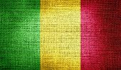 Mali flag on burlap fabric