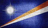 Marshall Islands flag on burlap fabric