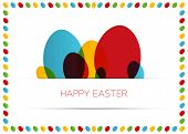 Happy Easter Card (poster) With Colorful Eggs