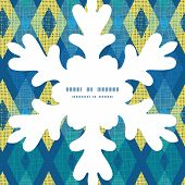 Vector colorful fabric ikat diamond Christmas snowflake silhouette pattern frame card template