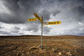 pic of intersection  - Intersection road signals in the middle of Iceland - JPG