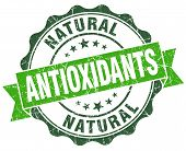 Antioxidants Green Vintage Seal Isolated On White
