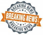 Breaking News Orange Vintage Seal Isolated On White