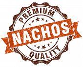 Nachos Brown Vintage Seal Isolated On White